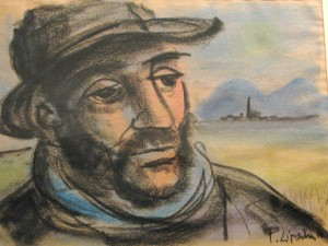 "96-year-old Evanston, IL artist Peggy Lipschutz's chalk drawing inspired by ""Poor Wayfaring Stranger."""